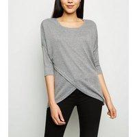 apricot-grey-geometric-fine-knit-wrap-top-new-look
