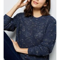 Apricot Navy Nep Knit Jumper New Look