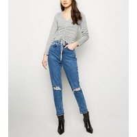 pale-grey-ruched-front-fine-knit-top-new-look