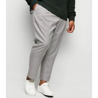 Plus Size Black Dogtooth Check Trousers New Look
