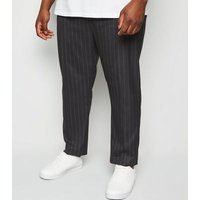 Plus Size Black Pinstripe Slim Crop Trousers New Look