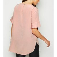Pale Pink Frill Sleeve T-Shirt New Look