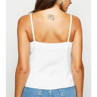 Off White Button Front Cami New Look