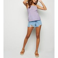 Lilac Linen Blend Tie Back Cami New Look