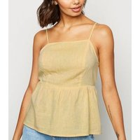 Yellow Linen Blend Tie Back Cami New Look