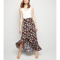 Blue Vanilla Blue Floral Frill Wrap Midi Skirt New Look