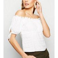 White Linen Blend Tie Sleeve Milkmaid Top New Look