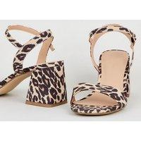 Stone Suedette Leopard Print Flared Block Heels New Look