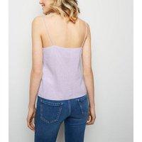 Lilac Linen-Blend V Neck Cami New Look