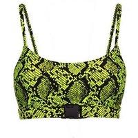 Yellow Neon Snake Print Crop Bikini Top New Look