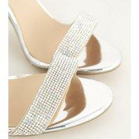 Silver Diamanté Strap Block Heel Sandals New Look Vegan
