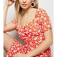 Red Floral Button Up Mini Dress New Look
