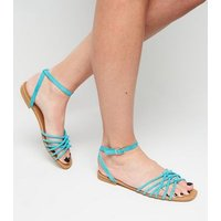 Teal Suedette Knot Front Strap Sandals New Look