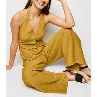 Mustard Twill Button Front Halterneck Jumpsuit New Look