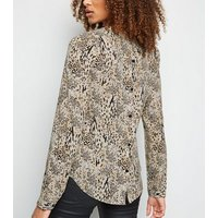 Tall Brown Leopard Print Button Back Top New Look
