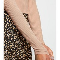 camel-ribbed-long-sleeve-bodysuit-new-look