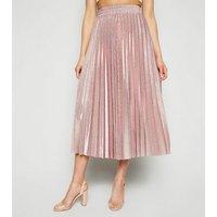 Bronze Glitter Pleated Midi Skirt New Look