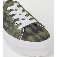 Green Camo Print Lace Up Flatform Trainers New Look