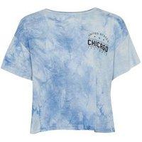 Girls Blue Tie Dye Chicago Slogan T-Shirt New Look