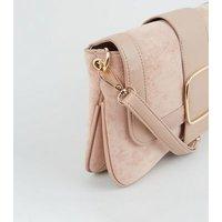 Pink Suedette Leather-Look Buckle Shoulder Bag New Look