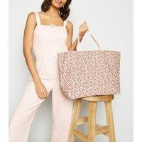 Pale Pink Floral Canvas Shopper Bag New Look