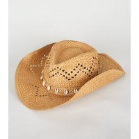 Stone Woven Straw Effect Shell Trim Cowboy Hat New Look