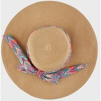 Tan Straw Effect Zig Zag Band Floppy Hat New Look