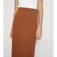 Rust Linen Look Button Up Midi Skirt New Look