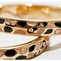WANTED Gold Leopard Print Enamel Hoop Earrings New Look
