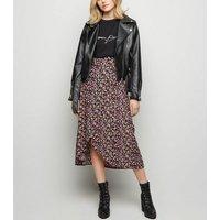 Black Bright Floral Wrap Midi Skirt New Look