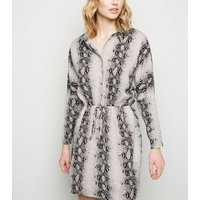 AX Paris Light Grey Snake Print Button Up Dress New Look