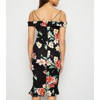 AX Paris Black Floral Cold Shoulder Bodycon Dress New Look