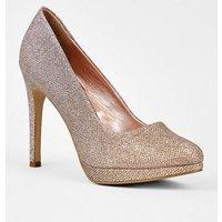 Rose Gold Glitter Platform Stiletto Courts New Look