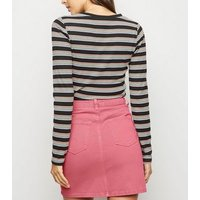 Pink Denim Mom Skirt New Look