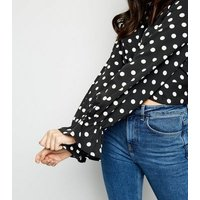 Tokyo Doll Black Polka Dot Twist Front Top New Look