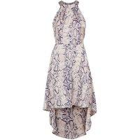 Blue Vanilla Pink Snake Print Halterneck Dress New Look