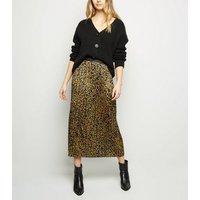 Tokyo Doll Yellow Leopard Print Pleated Midi Skirt New Look