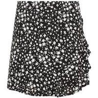 Girls Black Floral Frill Front Skort New Look