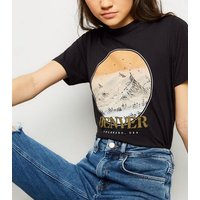 black-denver-mountain-slogan-rock-tshirt-new-look