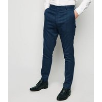 Navy Grid Check Skinny Suit Trousers New Look