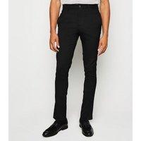 Men's Black Side Stripe Skinny Trousers New Look