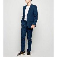 Navy Grid Check Skinny Suit Jacket New Look