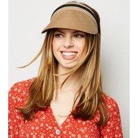 Tan Woven Straw Effect Visor Hat New Look