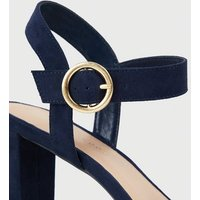 Wide Fit Navy Suedette Bow Strap Block Heels New Look