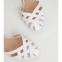 Wide Fit White Plait Strap Caged Sandals New Look