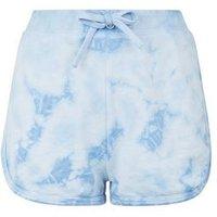 Pale Blue Tie Dye Jersey Shorts New Look