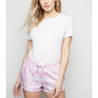 Pale Pink Tie Dye Jersey Shorts New Look
