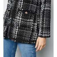 Blue Vanilla Black Tweed Check Jacket New Look