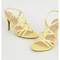 Yellow Patent Strappy Stiletto Heels New Look