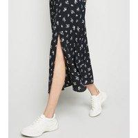Black Floral Print Side Split Midi Dress New Look